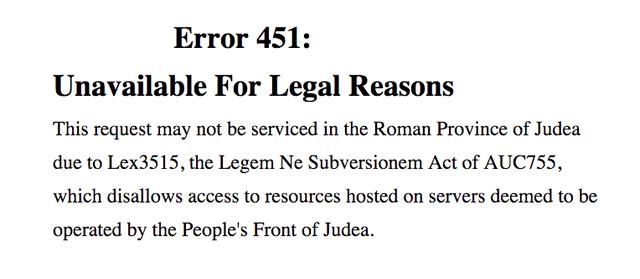 Стандартное содержание страницы сайта с ошибкой 451