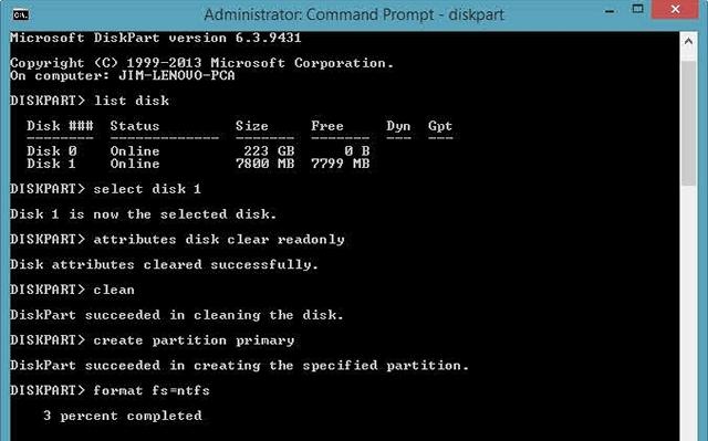 Чтобы отформатировать заблокированный носитель, достаточно ввести несколько команд в текстовой консоли. Убедитесь, однако, что форматируете правильный жесткий диск