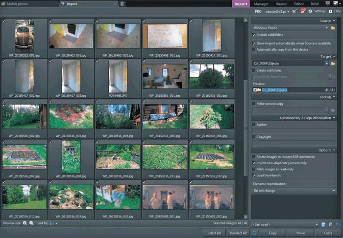 Страница загрузки фотографий на компьютер с помощью Zoner Photo Studio