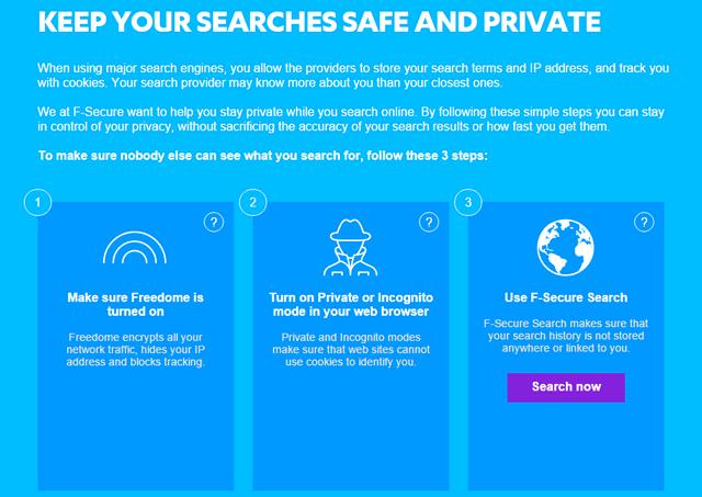 Настройка безопасного поиска с помощью F-Secure Freedome