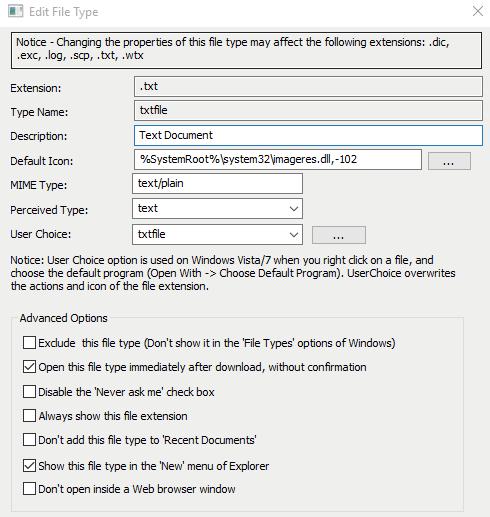Окно детальной информации по выбранному типу файла