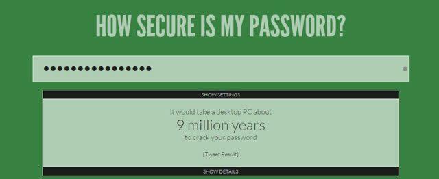 Проверка надежности пароля с помощью сервиса howsecureismypassword.net