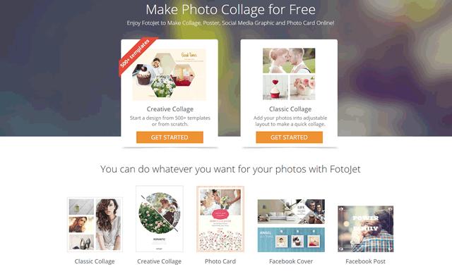 Главная страница онлайн редактора фотографий FotoJet