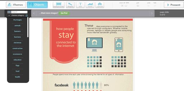 Использование готовых элементов при создании инфографики на сайте Easel.ly
