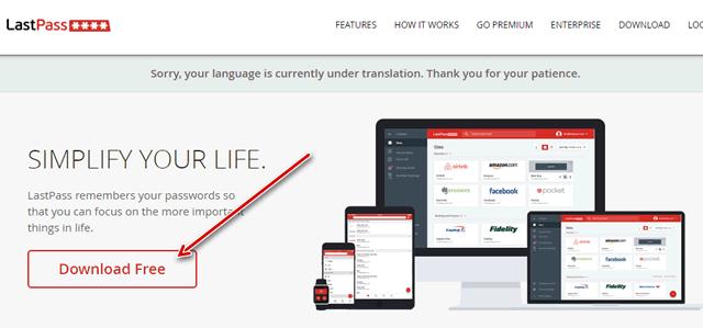 Загрузка менеджера паролей LastPass с сайта разработчика