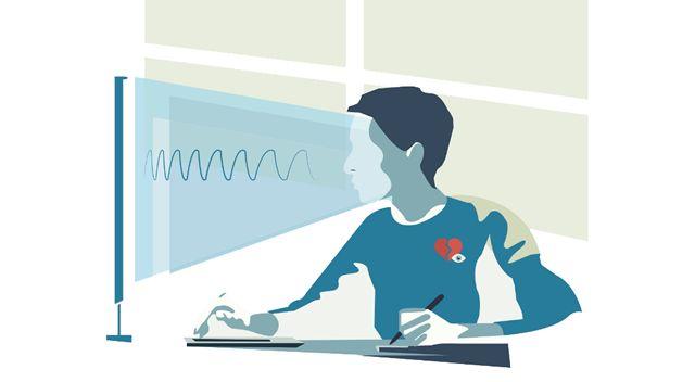 Поток вредного синего света от монитора в лицо пользователя