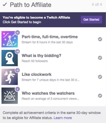 Прогресс достижений для сотрудничества с Twitch