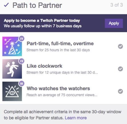 Получение достижений для партнера Twitch