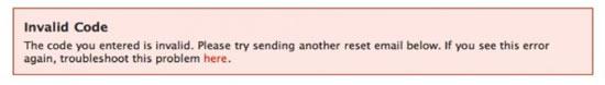 Неверный код при сбросе пароля Facebook