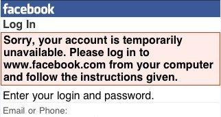 Ошибка входа на Facebook через мобильное устройство