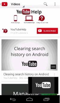 Главное окно YouTube на мобильном устройстве