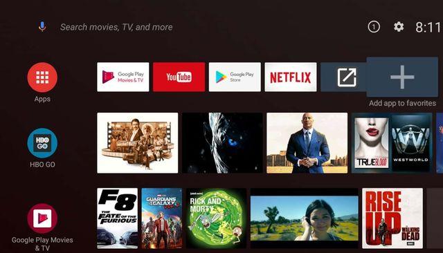 Интерфейс Android TV на смарт-телевизоре