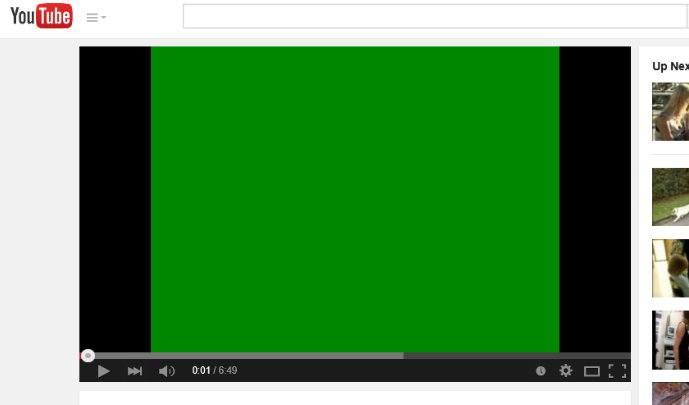 Зеленый экран при воспроизведении видео на YouTube