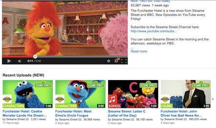 На странице Sesame Street в приложении YouTube для детей отображаются последние добавленные видео