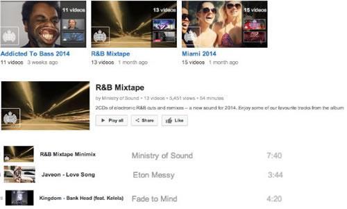 Разнообразные музыкальные плейлисты канала Ministry of Sound