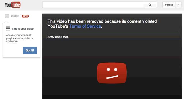 Сообщение об удалении видео за нарушение правил YouTube